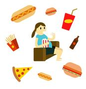 Sedentary woman eating fast food on the couch. Piirros