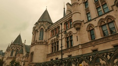 Wide Panoramic shot of the Royal Courts of Justice in London, England, UK Stock Footage