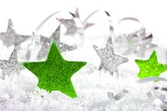Christmas background with stars and christmas decoration Stock Photos