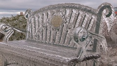 Everything covered in thick ice after freezing rain and wind storm Stock Footage