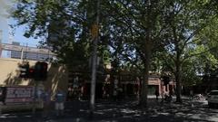 Tram ride past Finders Street Station, Melbourne, Victoria, Australia Stock Footage