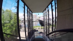 Darling Harbour elevator, Sydney, New South Wales, Australia Stock Footage
