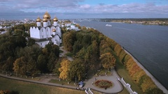 Aerial view Assumption Cathedral in Yaroslavl Russia Stock Footage