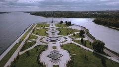 Main attraction of Yaroslavl, the Strelka Park Stock Footage