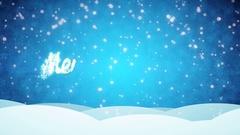 Blue Snowy Background Merry Christmas Stock Footage