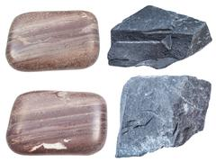 Set of various argillite minerals isolated Stock Photos