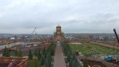 Aerial shot of alley in the Holy Trinity Convent of Mercy. Saraktash. Russia. Stock Footage