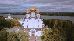 Assumption Cathedral on Strelka park in Yaroslavl Stock Footage