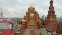 Aerial shot of Holy Trinity Convent of Mercy. Saraktash. Russia. Stock Footage