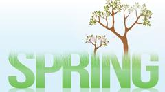 Spring Word with Lush Grass and Blooming Trees - Vector Illustration Stock Illustration