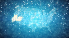 Snowy Blue Background Map of the USA With the Text Merry Christmas Stock Footage