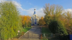 Aerial shot of church in little town in Russia. Stock Footage