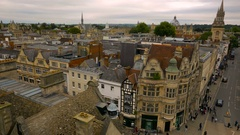 Ultra wide panoramic view of Oxford city center, UK Stock Footage