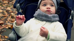 Adorable little girl sitting in stroller and chewing in autumn park. Happy child Stock Footage