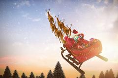 Composite image of high angle view of santa claus riding on sled with gift box Stock Illustration