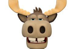 Cute bored moose cartoon animal 3d illustration Piirros