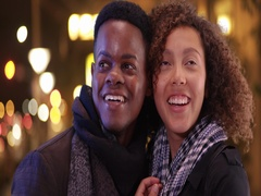 Young black couple have a night on the town Stock Footage