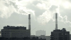 Pipes factory smoke in a large city Stock Footage