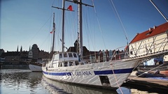 Yacht moored to the quay in marina Stock Footage