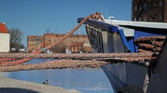 Boat moored to the quay in marina Stock Footage