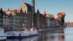 Motlawa river in Old City of Gdansk Stock Footage