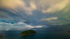 Night storm and thunderstorms on promthep cape. Phuket Island in Thailand Stock Footage