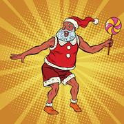 Southern Santa Claus dancing with lollipop Stock Illustration