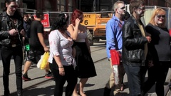 Horde of zombies crossing the street Stock Footage