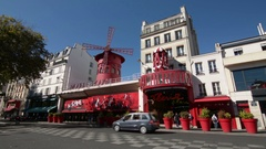 Paris. Moulin Rouge, a famous cabaret located in the Pigalle district Stock Footage