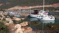 Boats berthed at the bay 2 Stock Footage
