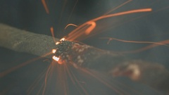 Fuse burns quickly with sparks and smoke on a black background. Bomb Stock Footage