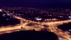 Interchange Overpass And Elevated Road In Night Time Lapse Traffic Freeway Stock Footage