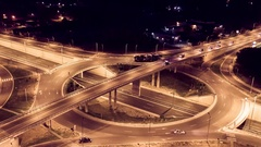 Drone Footage Of City Interchange Overpass At Night  Traffic Transport Aerial Stock Footage