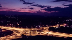 City Interchange Overpass At Night  Aerial Drone Highway Traffic Freeway Stock Footage