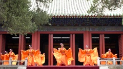 Traditional Chinese theatre performance in temple, Beijing, China Stock Footage