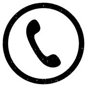 Phone Receiver Icon Rubber Stamp Stock Illustration