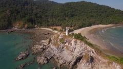 Flying over the lighthouse in Koh Lanta, Mu Koh Lanta National Park Stock Footage