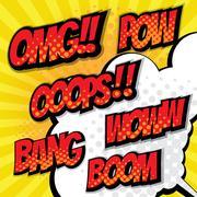 Pop art, comic book speech bubble set background vector illustration Stock Illustration
