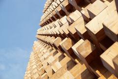 Wooden facade modern perspective Stock Photos