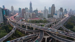 Day to night time lapse of busy elevated road junction & skyline, Shanghai Stock Footage