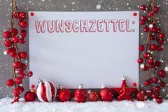 Label, Snowflakes, Christmas Balls, Wunschzettel Means Wish List Stock Photos