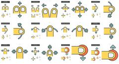 Touch gestures line icon set Piirros