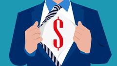 Businessman in classic superman Stock Illustration