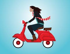 Woman driving a Scooter. Concept holiday illustration. Vector flat Stock Illustration