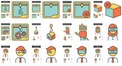 Virtual reality and 3D technology line icon set Piirros