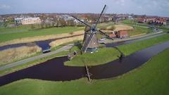 Windmill volendam water management Stock Footage
