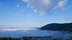 4k Time-lapse of fog in the morning with mountain at Khao Kho Stock Footage
