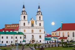 Moonrise over Cathedral Of Holy Spirit In Minsk, Belarus Stock Photos