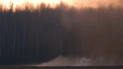 Powerful bomb blast in the evening. Explosion throws mud and rocks. Stock Footage