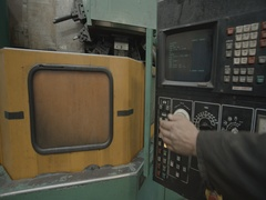 Computer control panel huge a lathe Stock Footage